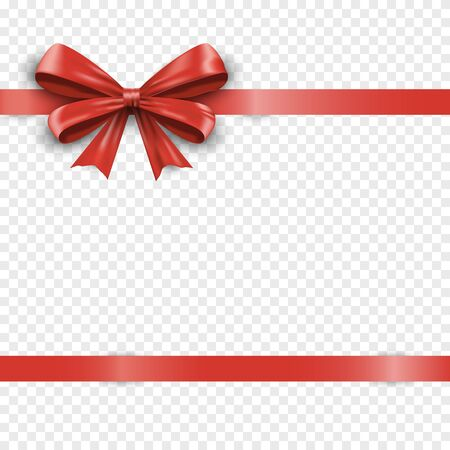 Realistic horizontal red silk gift bow with ribbon isolated on transparent background. Valentine or christmas celebration bow. Satin decoration gift ribbon bows. Vector illustration