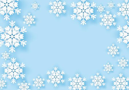 Winter snowflake greeting banner with blue background. Origami white snow invitation design card. Wintertime paper poster template for christmas holiday. Snow flakes frame pattern for text. Vector illustration