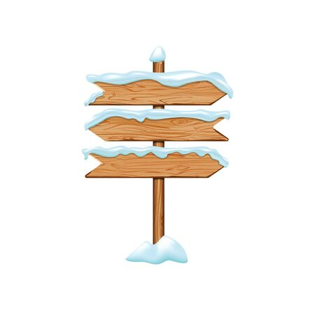 Cartoon wooden signs with iced snow. Winter holiday billboard frame isolated on white background. Christmas directional signboard plank banner element. Vector wooden pointing guidepost illustration