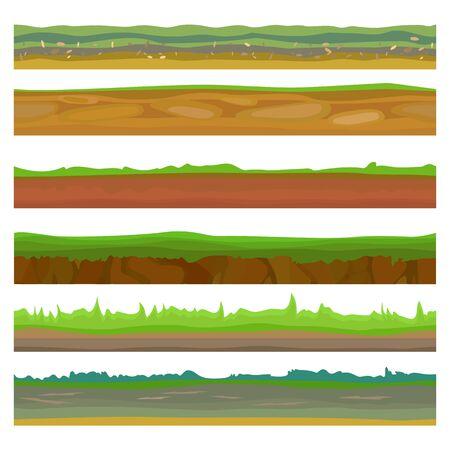 Différents terrains, sols et ensembles de terres sans couture pour les jeux d'interface utilisateur. Herbe des sols verts de surface. Terre au sol, icône souterraine, terre de jeu de sol. Illustration vectorielle