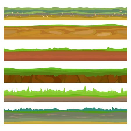 Seamless different grounds, soils and land set for UI games. Surface green soils grass. Soil ground land, underground icon, soil game earth. Vector illustration