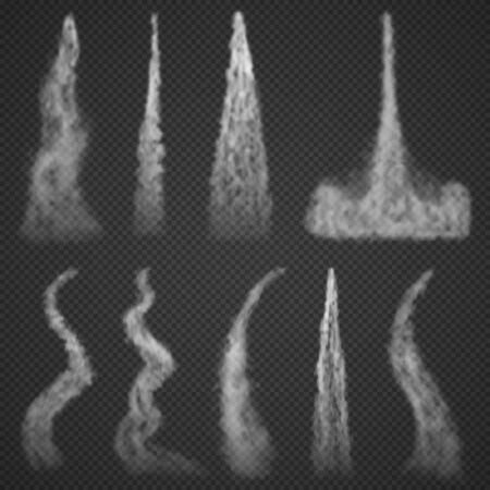 Fumo di tracce di condensazione aereo isolato su sfondo trasparente. Set di nuvole di fumo di aviazione nebbiose bianche. Sentiero di partenza a razzo fumoso. Illustrazione vettoriale