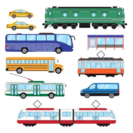 Urban public transport set. Collection of bus, minibus, taxi, tram, train, trolleybus, school bus in side view. Vector illustration Vettoriali