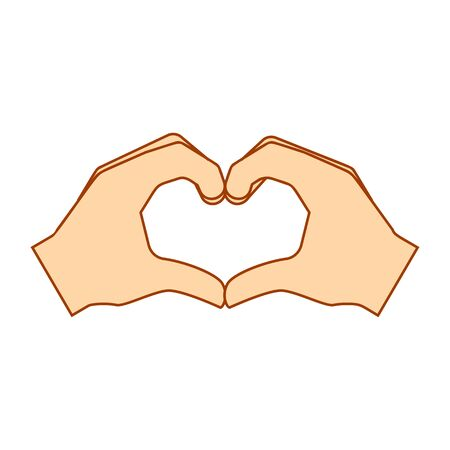 Heart fingers gestures of human hand isolated on a white background. Vector illustration