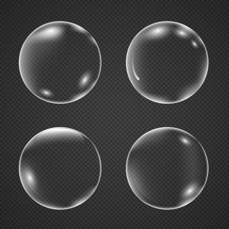 Realistic white air bubbles with reflection isolated on a transparent background. Champagne fizzy on black closeup. Vector illustration underwater bubble Vektorové ilustrace