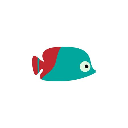 Aquarium red fish isolated on white background. Cartoon sea exotic fish. Vector illustration
