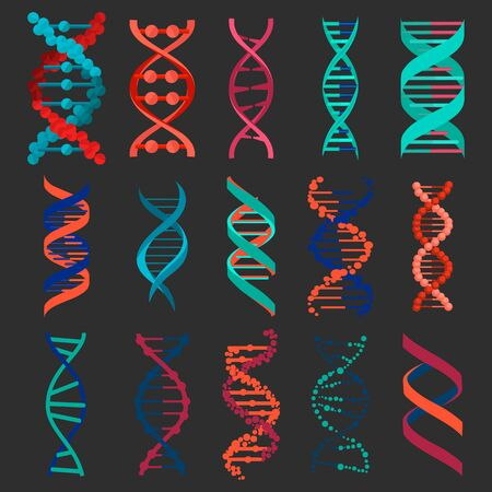 DNA molecule sign set isolated on black background. Genetic elements and icons collection strand. Research helix element. Medical genetic chromosome. Vector illustration