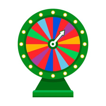 Cartoon wheel fortune lottery design element. Spinning lucky fortune isolated on white. Vector illustration