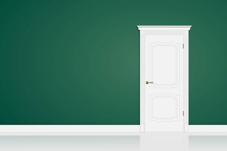 Białe zamknięte drzwi na zielonej ścianie w pokoju. Zaprojektuj makiety do kopiowania przeszłości. Ilustracja wektorowa 3d