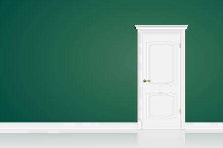 Puerta cerrada blanca en la pared verde en la habitación. Diseño de maqueta para copiar pasado. Ilustración vectorial 3d