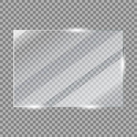 Glass plate frame. Realistic glossy window glass with acrylic light reflections isolated on transparent background. Vector illustration