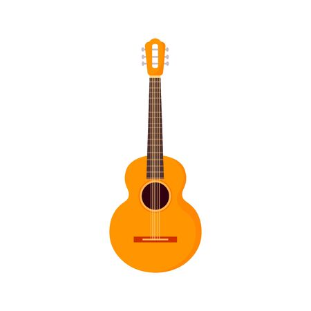 String electric guitar isolated on white background. Cartoon musical instruments in flat style. Guitar cute icon design. Vector illustration Ilustração