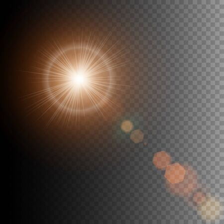 Summer sun lens flare with realistic light and glow on black background, star lens flares. Vector illustration