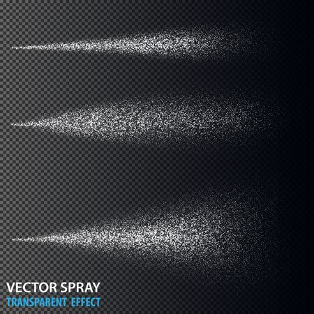 Transparent water spray cosmetic set with dust and dots. White 3d fog spray effect isolated on background. Vector spray smoke effect eps10