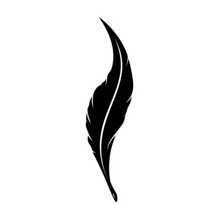 Feathers pen black icon silhouette. icon goose lightweight feather contour. Vector illustration Illustration
