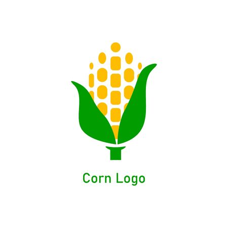 Corncob design. Yellow corn seed and green leaf isolated on white background. Vector organic grain illustration