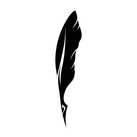 Feathers pen black icon silhouette.  goose lightweight feather contour. Vector illustration