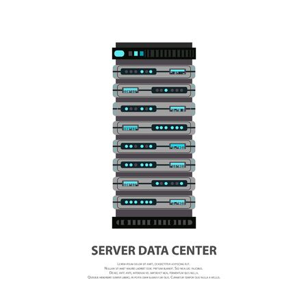Cartoon server data center icon in flat style isolated on white. Big data computer rack for cloud workstation. Vector illustration