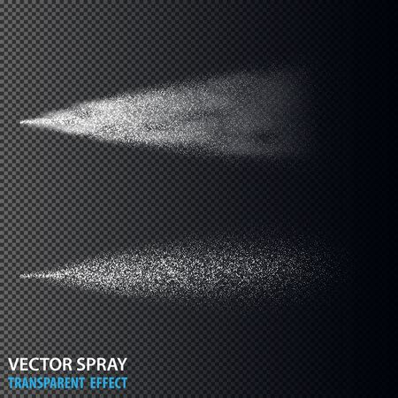 Transparent water spray cosmetic set with dust and dots. White 3d fog spray effect isolated on background. Vector spray smoke effect