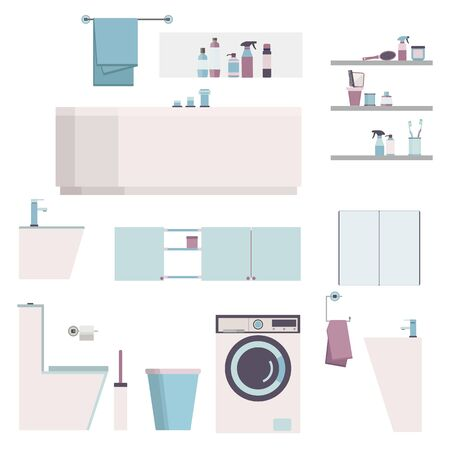 Bathroom modern furniture set. Constructor house equipment icon washing machine, toilet, mirror, bowl, washbasin. Vector illustration eps10