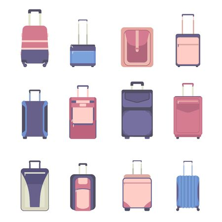 Travel bag luggage icon set. Suitcases isolated on white. Backpacks in flat style. Vector illustration handbag object Vectores
