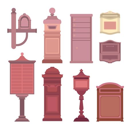 Mail boxes collection in flat style. Postbox icon set isolated on white background. Vector illustration