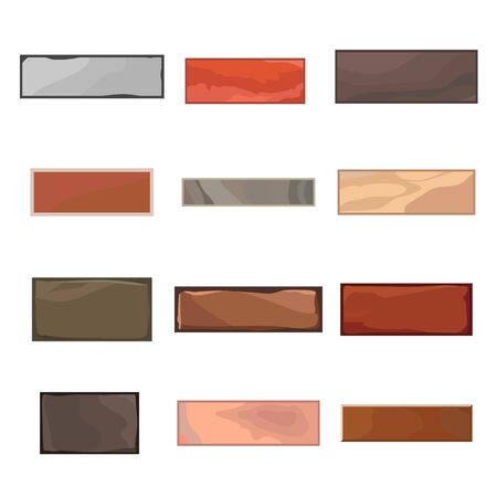 Set of 12 different bricks in cartoon style for game. Construction object isolated on white backdrop. Vector illustration Ilustração