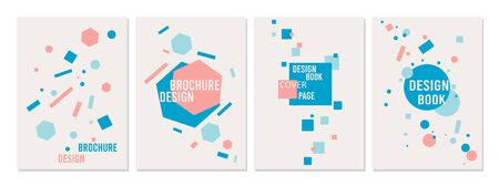 Brochure design templates collection. Advertisement flyer, booklet, poster or banner print concept cover with geometric shape. Vector illustration