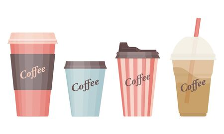 Different coffee cups icon templates isolated on white background. Vector illustration