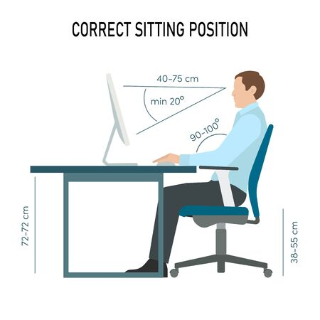 Correct back sitting position infographic. Man sit on chair. Vector illustration Illustration