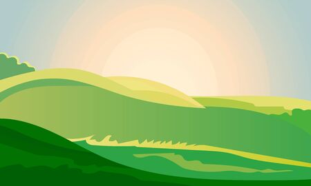 Green landscape field dawn above hills with grass. Sunrise summer countryside. Cartoon eco farm park. Vector illustration nature background Illustration