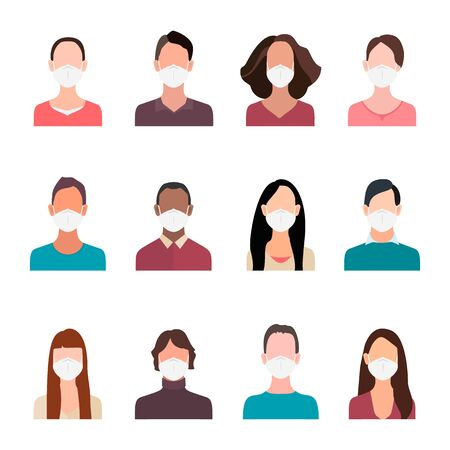 Avatars people heads in mask. Cartoon portrait man and woman in protective face masks prevention of coronavirus. Vector illustration in flat style