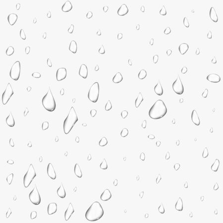 Different realistic transparent water drops. Glass bubble drop condensation surface on isolated background. Vector clean drop splash