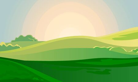 Summer green landscape field dawn above hills with grass. Sunrise in countryside. Cartoon eco farm park. Vector illustration nature background Illustration