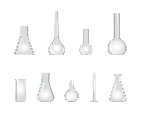 Laboratory glassware beaker 3d icon set. Chemistry glass flask isolated on white. Empty chemical lab containers. Vector illustration test tubes Illustration