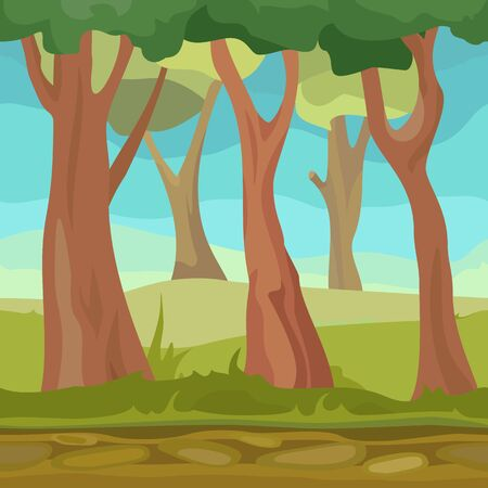 Natural seamless forest for game or app cartoon design template. Vector illustration tree landscape