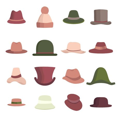 Set of man and woman different hats. Head hat icon collection isolated on white. Vector illustration color hats