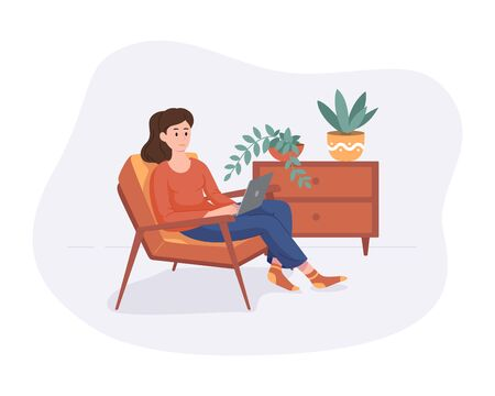 Freelance woman work from home comfortable space in chair with computer flat style vector illustration isolated on white. Freelancer girl self employed concept working online. Illustration