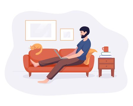 Freelance man work from home comfortable space on sofa with computer flat style vector illustration isolated on white. Freelancer character self employed concept working online.