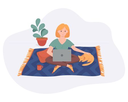 Freelance woman work from home comfortable space on carpet with computer and cat flat style vector illustration isolated on white. Freelancer girl self employed concept working online.