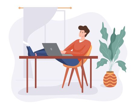 Freelance man work from home comfortable space at table with computer flat style vector illustration isolated on white. Freelancer character self employed concept working online.