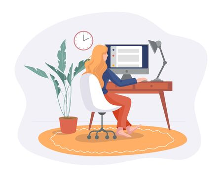 Freelance woman work from home comfortable space in chair with computer on table flat style vector illustration isolated on white. Freelancer girl self employed concept working online