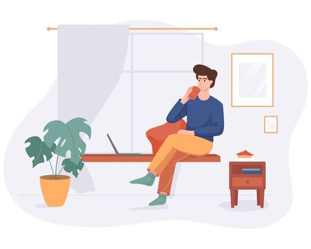 Freelance man work from home comfortable space at windowsill with computer in flat style vector illustration isolated on white. Freelancer character self employed concept working online drink coffee. Illustration