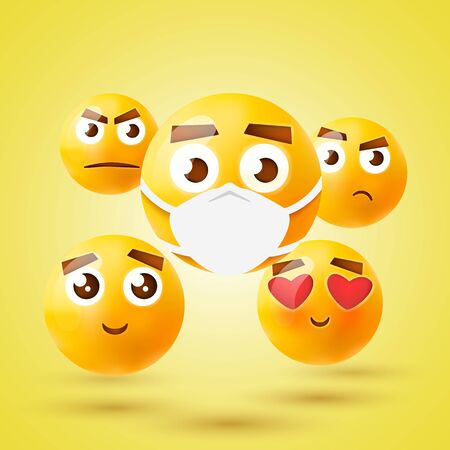 High quality emoticon 3d icon set. Emoji with medical mask. Vector illustration.