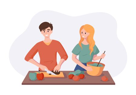Cooking healthy dinner together of vegetables and fruits. Man and woman couple preparing food isolated on white in flat style. Vector illustration culinary concept