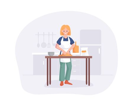 Young woman knead the dough on table in kitchen. Cute young girl preparing meals at home. Flat cartoon vector illustration culinary hobby