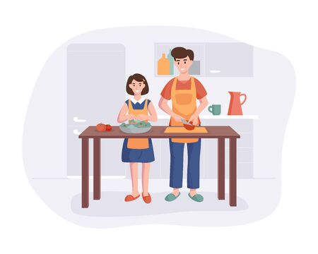 Father and daughter couple cooking dinner at the table in the kitchen. Cartoon character concept preparing meals at home in flat style. Vector illustration