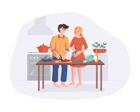 Family prepares dinner together at the kitchen table. Parents smiling while cooking in kitchen at home. Man and woman cartoon character making lunch. Vector flat colorful smiling people illustration