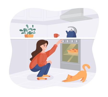 Smiling girl bakes a dish in the oven. Woman with cat in the kitchen preparing homemade meals for dinner. Vector illustration cooking at home concept Illustration