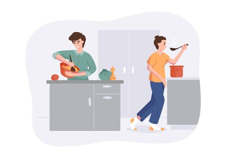 Smiling family together cooking on kitchen table. Wife cooked soup and tastes it with a spoon. Man knocks mix for cooking. Vector illustration home concept preparing homemade meals for dinner Illustration